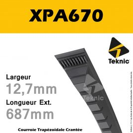 Courroie XPA670 - Teknic