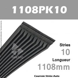 Courroie Poly-V Auto 1108PK10 - Continental
