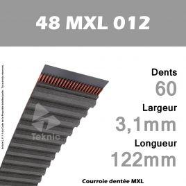 Courroie Dentée 48 MXL 012