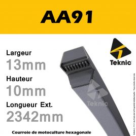Courroie Hexagonale AA91 - Teknic