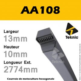 Courroie Hexagonale AA108 - Teknic