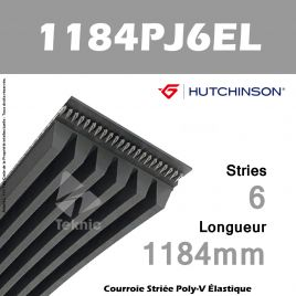 Courroie Flexonic 1184 PJ 6 EL - Hutchinson
